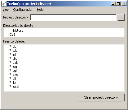 Turbo C++ project cleaner screenshot