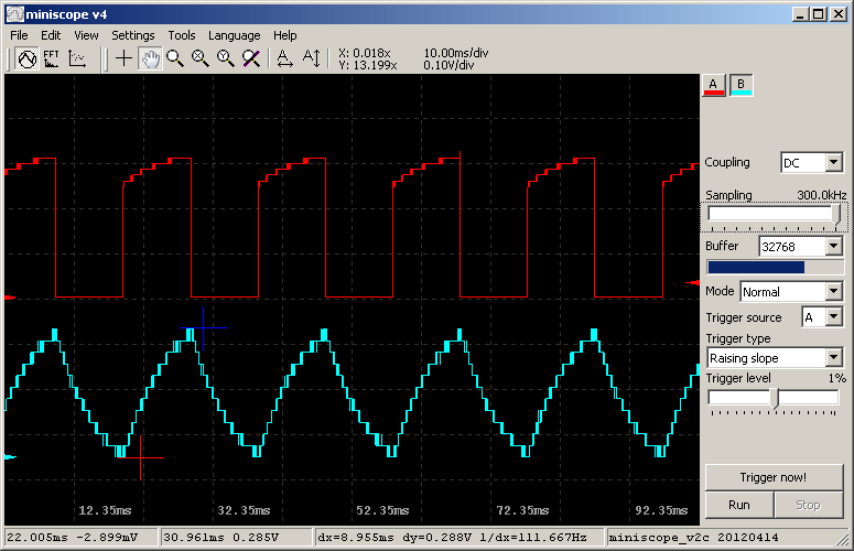 Miniscope v2c - open source PC USB oscilloscope using STM32F103